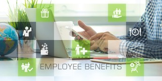 Businessman working in office and Employee Benefits icons concep
